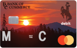 Image of Bank of Commerce MasterCard Debit Card with sunset.